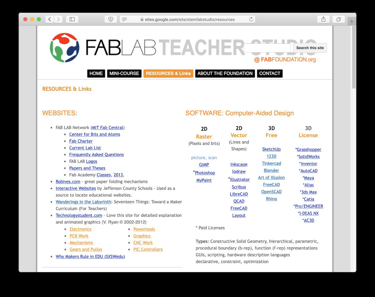 Fablab Teacher Studio Website